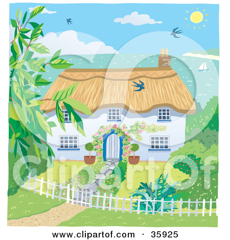 Clipart Illustration of a Cute Cottage With A Landscaped Yard.