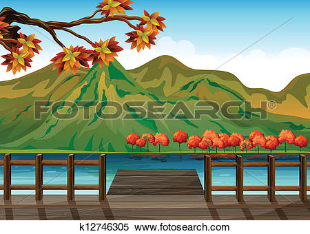 Clipart of A seaport overlooking the mountains k12746305.
