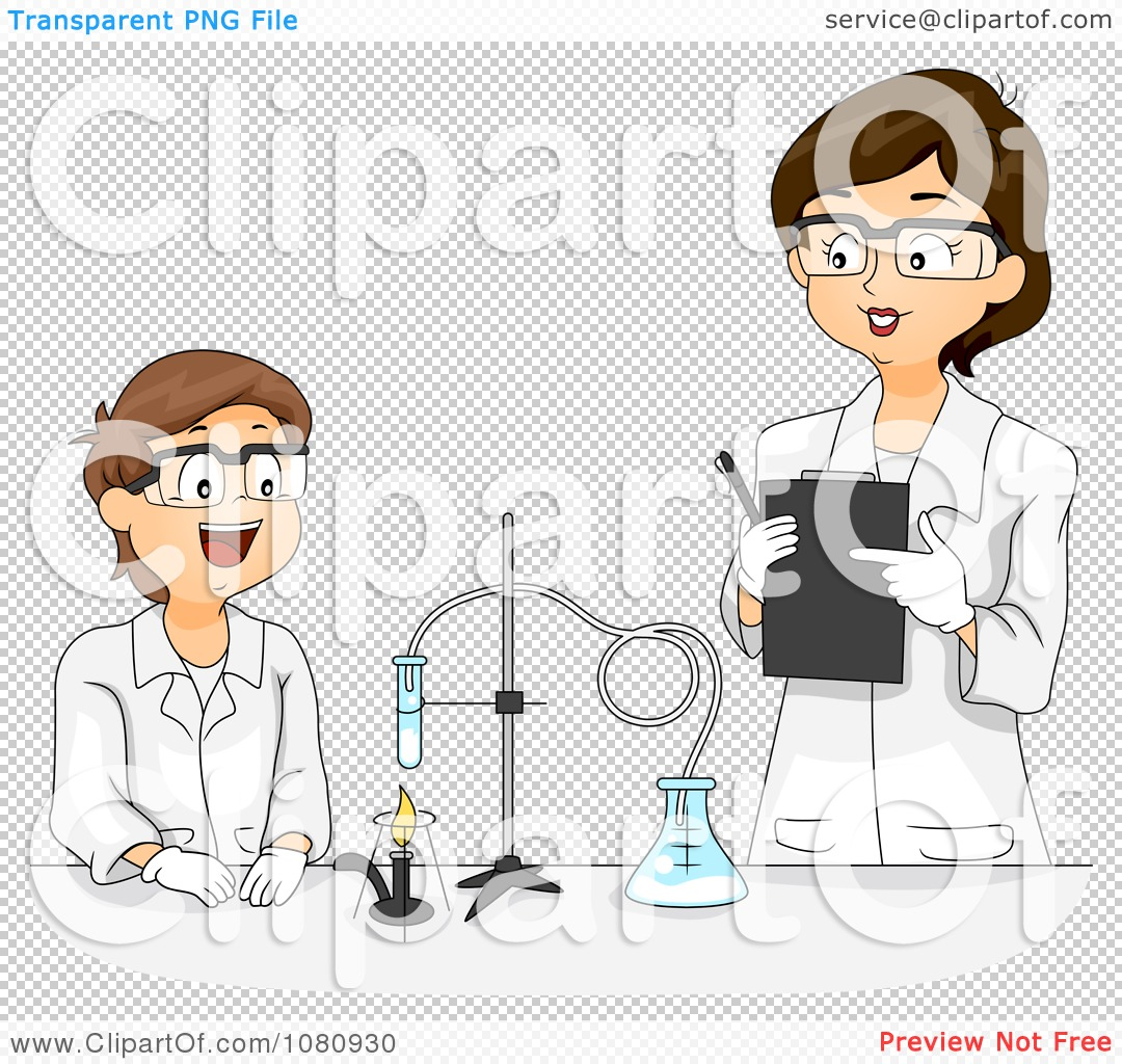 Clipart Female Science Teacher Overlooking A Male Students.