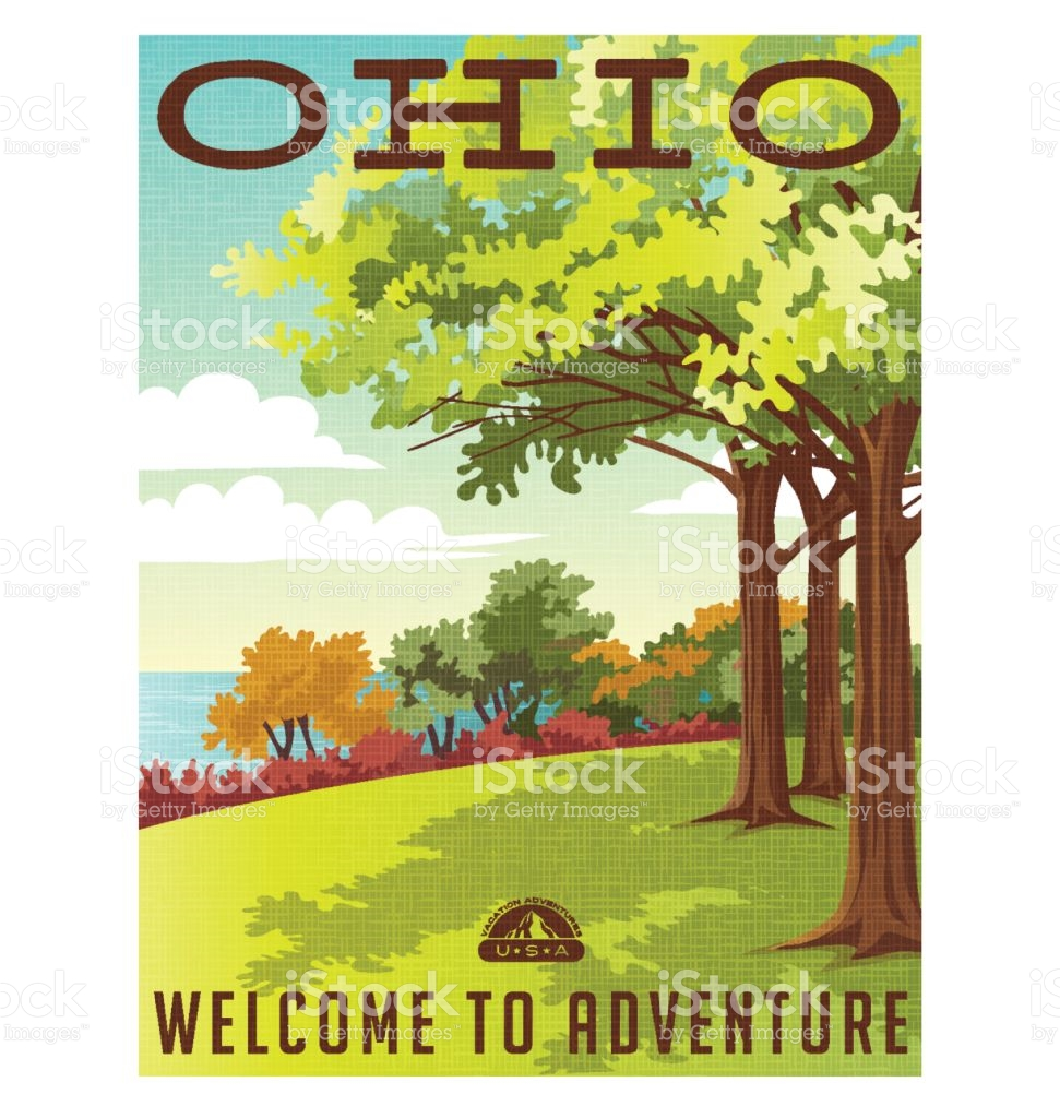 Ohio Travel Poster Or Sticker Vector Illustration Of Park.