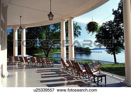 Picture of resort, rocking chairs, Cooperstown, New York, Rocking.