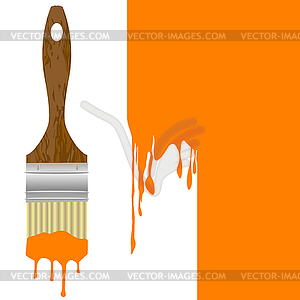 Paintbrush with dripping orange paint over painted.