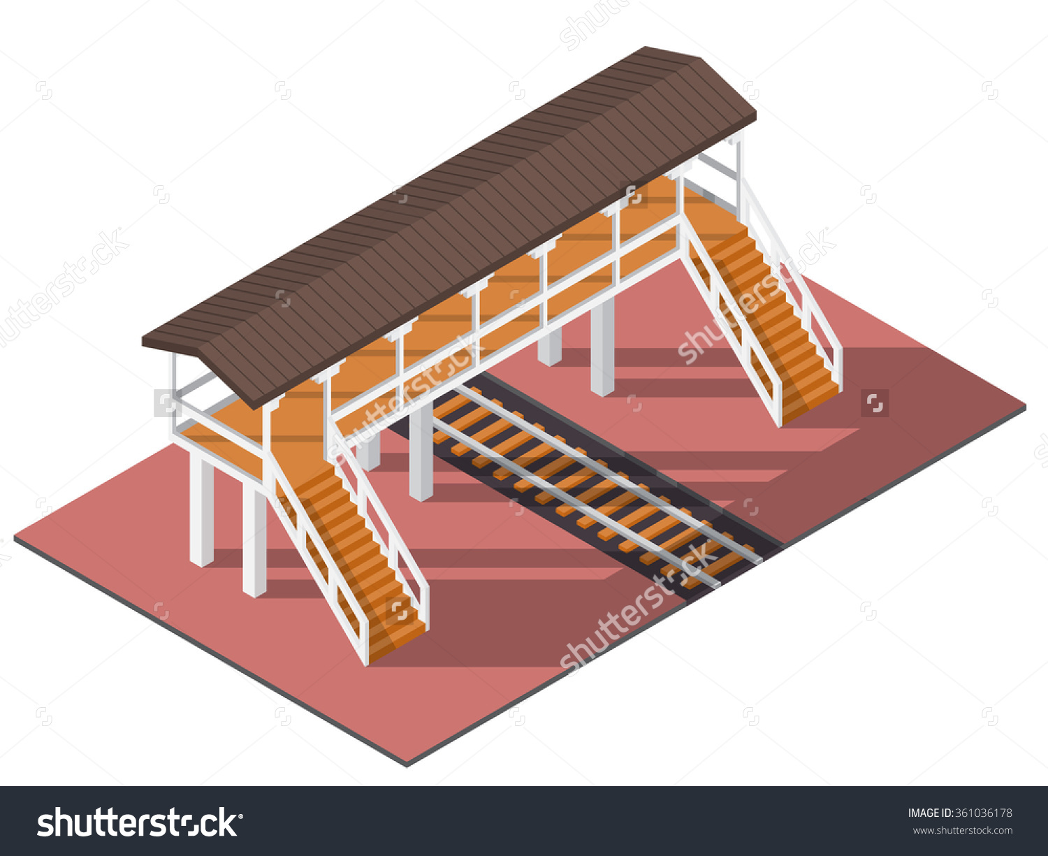 Vector Isometric Railway Overpass 3d Building Stock Vector.