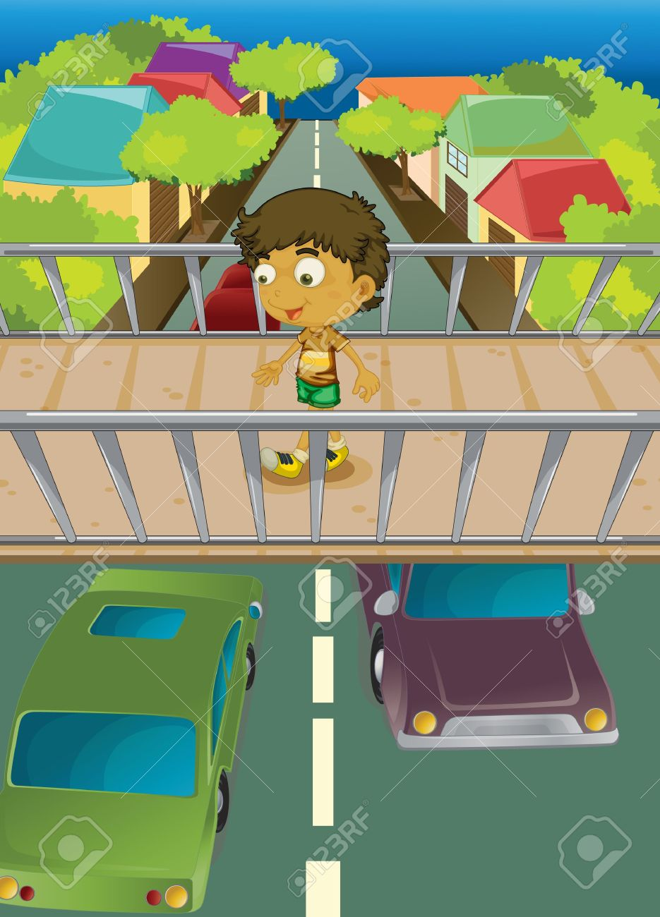 Illustration Of Boy Using Overpass Royalty Free Cliparts, Vectors.