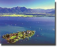 Island in lake Chiemsee with the Herren Chiemsee palace, Bavaria.