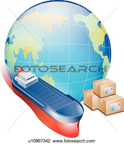 Clipart of boxes, icons, boxes, overseas shipping, Shipping, Globe.
