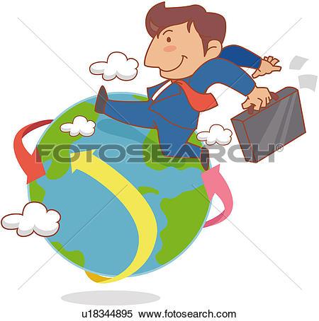 Clipart of business, cloud, overseas business trip, businessman.