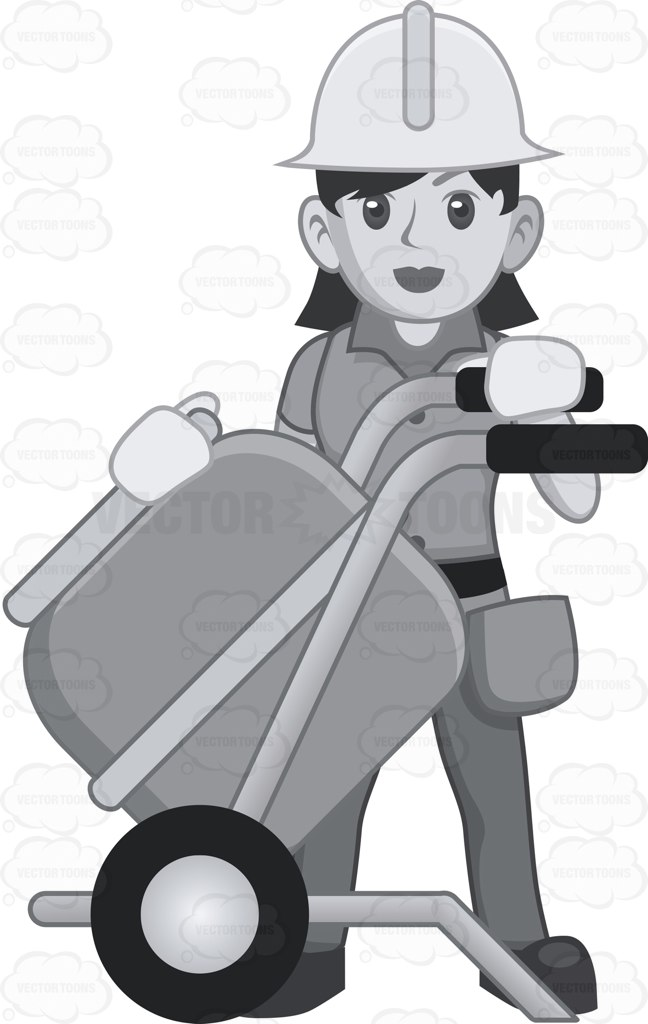 Female Construction Worker Overseeing A Cement Mix Cartoon Clipart.
