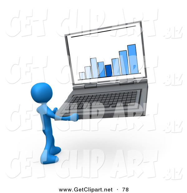 3d Clip Art of a Blue Person Holding an Oversize Laptop Computer.