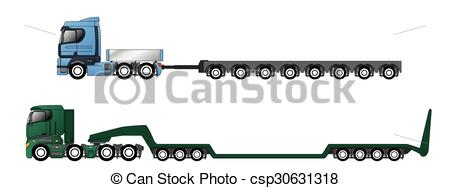 Vector Clip Art of Trucks with oversize and overweight trailers.