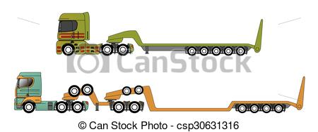 Vector Clip Art of Oversize and overweight hauling trucks.