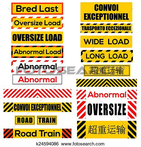 Clip Art of Various oversize load signs and symbols k24594086.