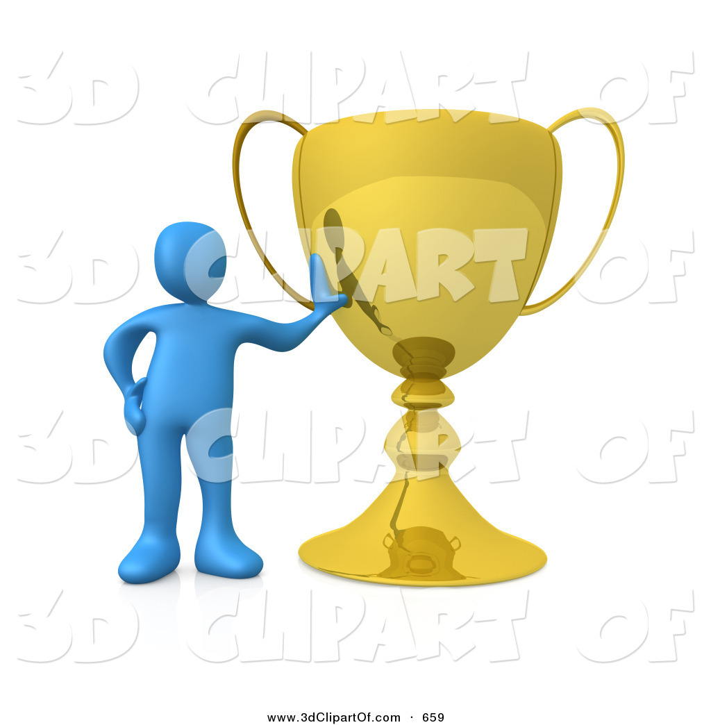 3d Clip Art of a Winning Blue Athlete Person Leaning Against His.