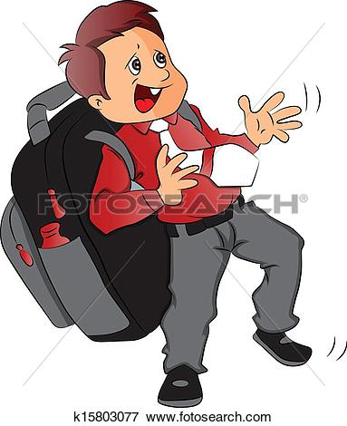 Clip Art of Vector of schoolboy with heavy and oversized schoolbag.