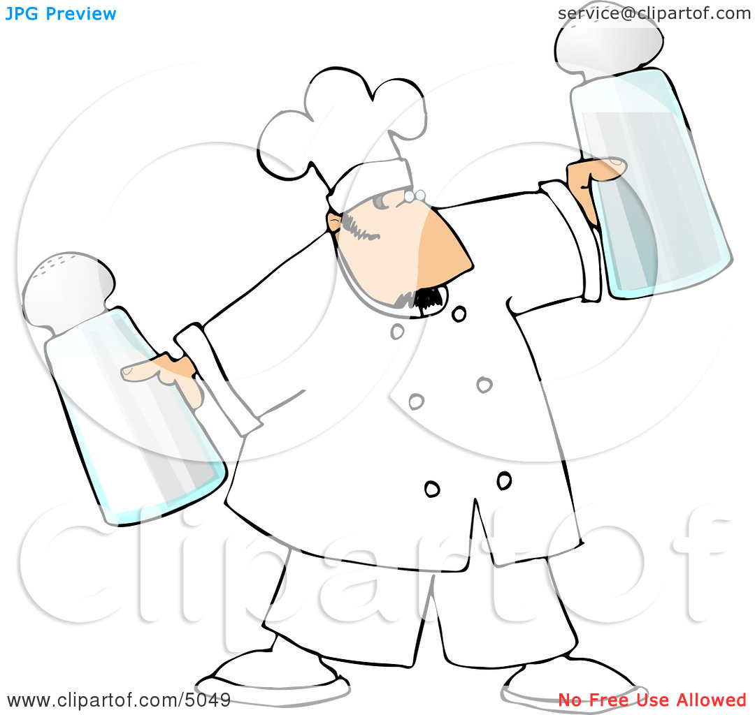 Male Chef Holding Oversized Salt and Pepper Shakers Clipart by.