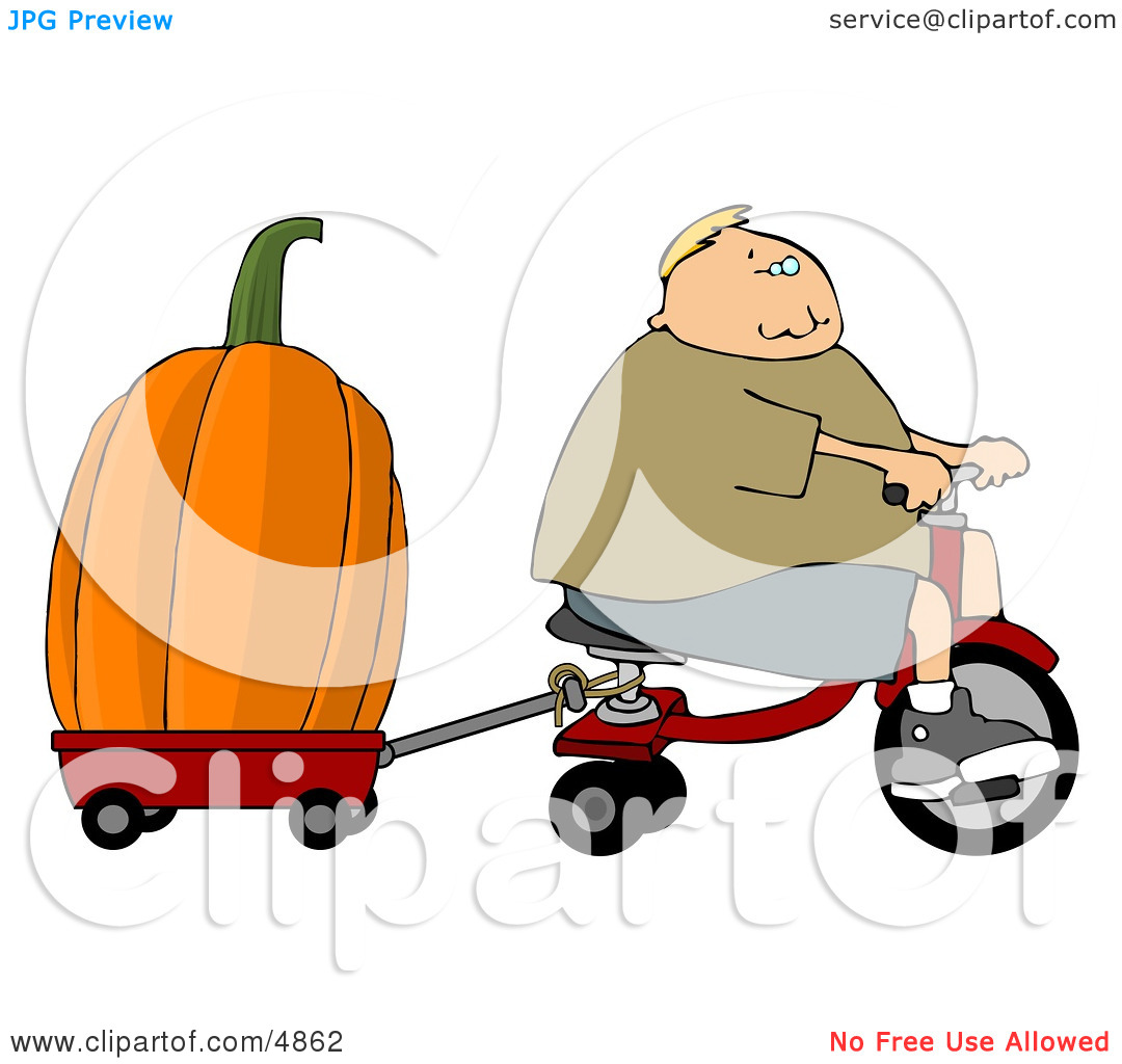 Boy Towing an Oversized Pumpkin Behind His Tricycle Clipart by.