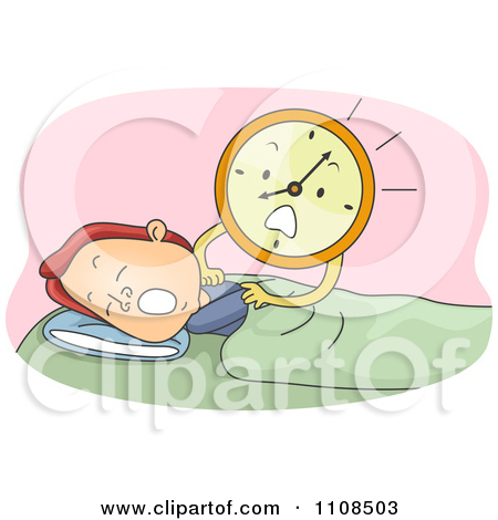 Clipart Stressed Alarm Clock Shaking A Sleeping Man.