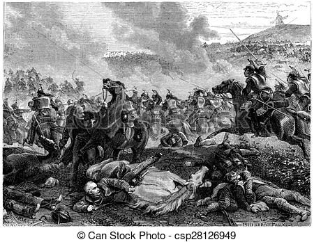 Stock Photo of Pin the Battle of Ligny, Blucher overthrown by the.