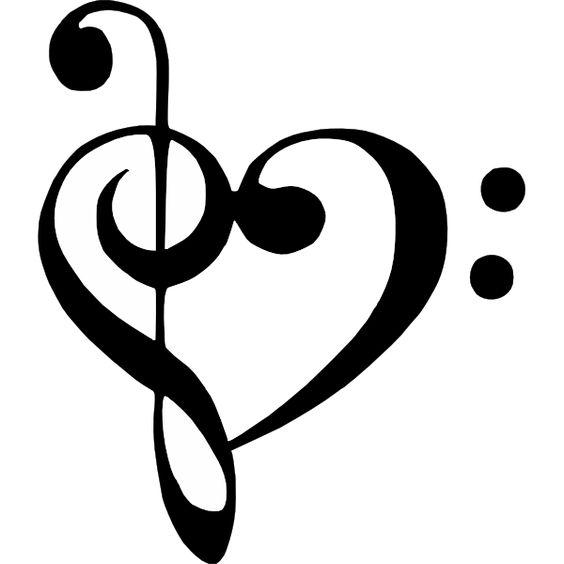 Bass Clef Treble Clef Heart clip art.
