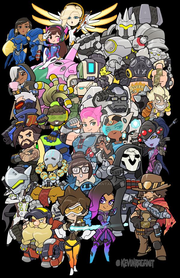 Overwatch Heroes groupshot by Kevin Raganit. Teepublic www.