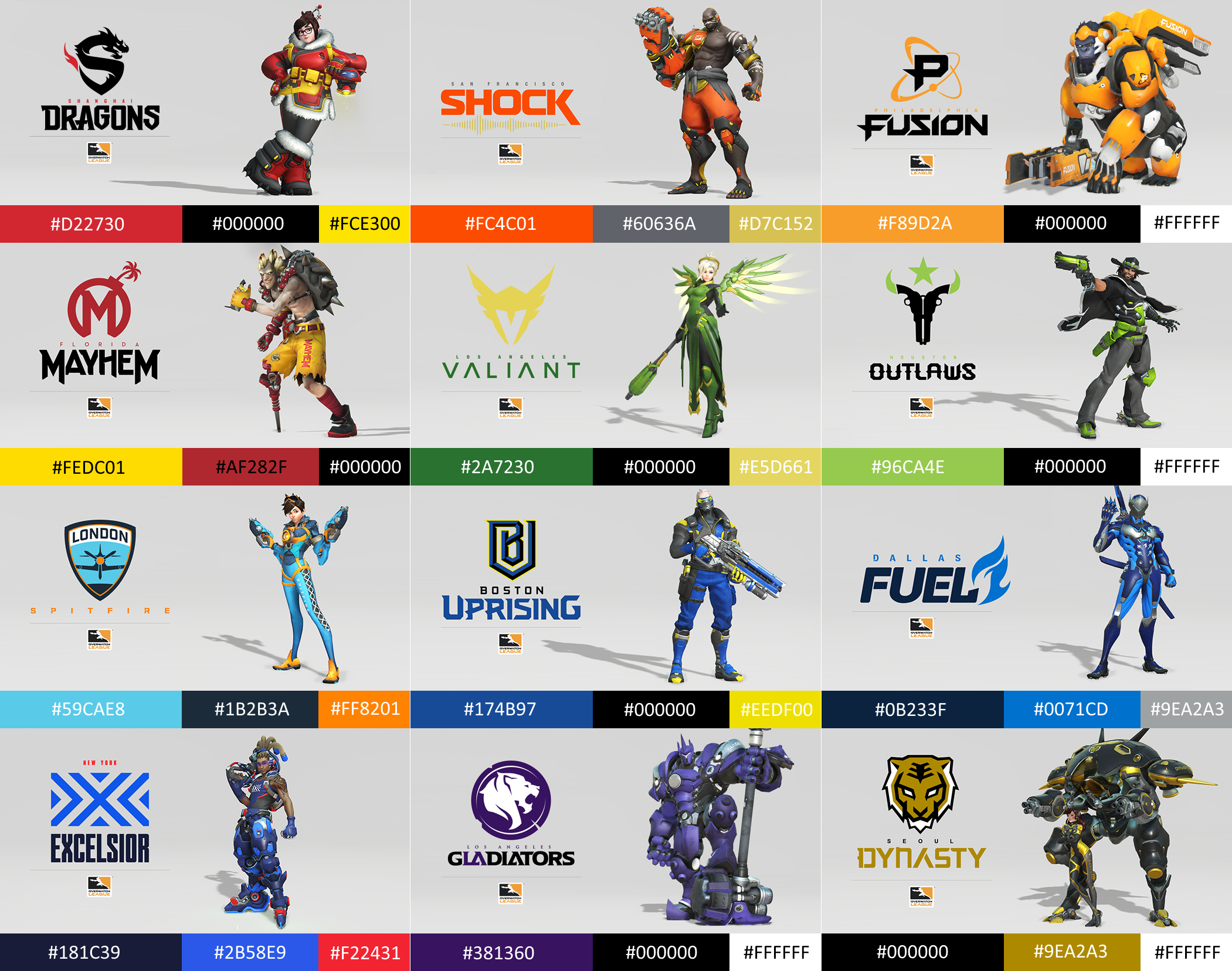 Overwatch League Teams with Colours and Hex Codes (sorted by.