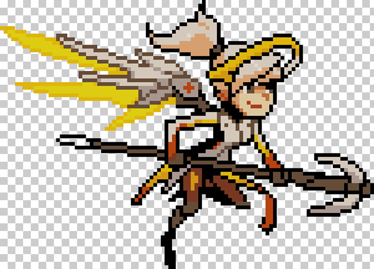 Overwatch Mercy Pixel art BlizzCon, pixel PNG clipart.