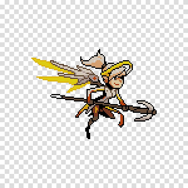 Overwatch Mercy Pixel art Tracer, others transparent.
