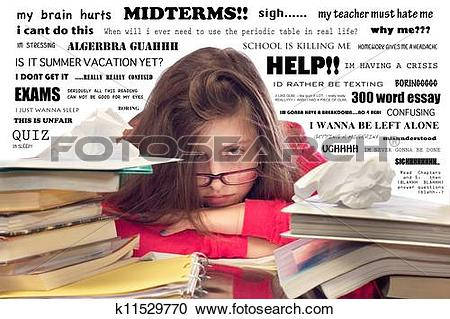 Stock Photography of Girl Overwhelmed with Homework k11529770.