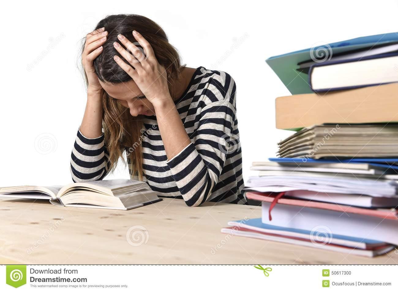 Overwhelmed Student Girl Clipart.