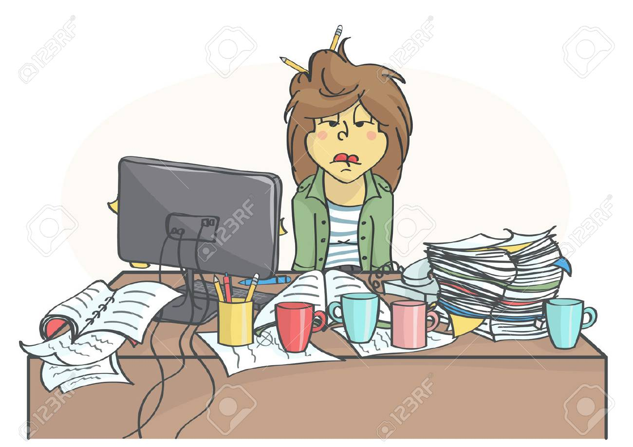 Overworked Woman Clipart.