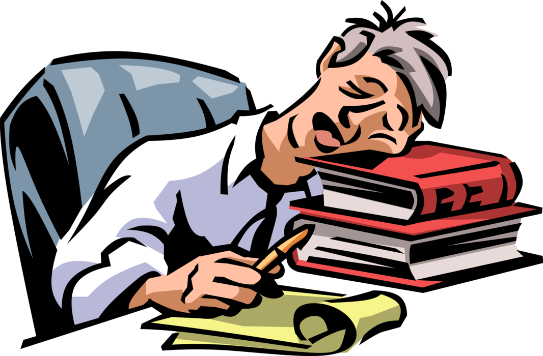 Vector Illustration Of Exhausted, Overworked.