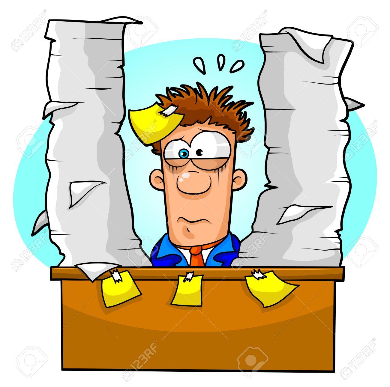 Overwhelmed Office Worker Clipart.