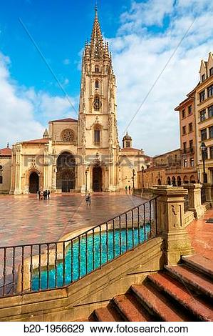Stock Photograph of Cathedral, Plaza Alfonso II El Casto, Oviedo.