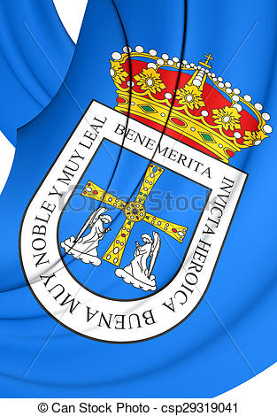 Drawing of Flag of Oviedo City, Spain..