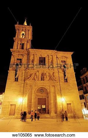 Stock Image of Church of San Isidoro at night, Oviedo, Asturias.