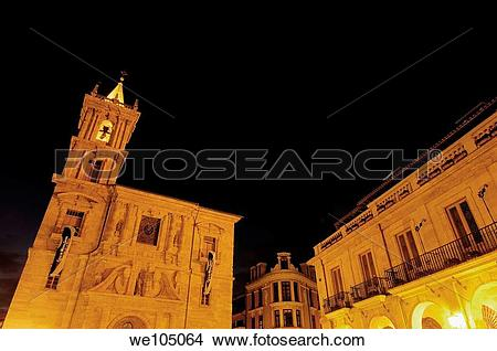 Stock Photo of Church of San Isidoro and Town Hall in Plaza de la.