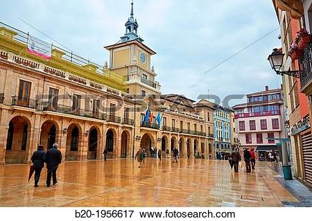 Picture of Town Hall. Constitution square, Oviedo, Asturias, Spain.