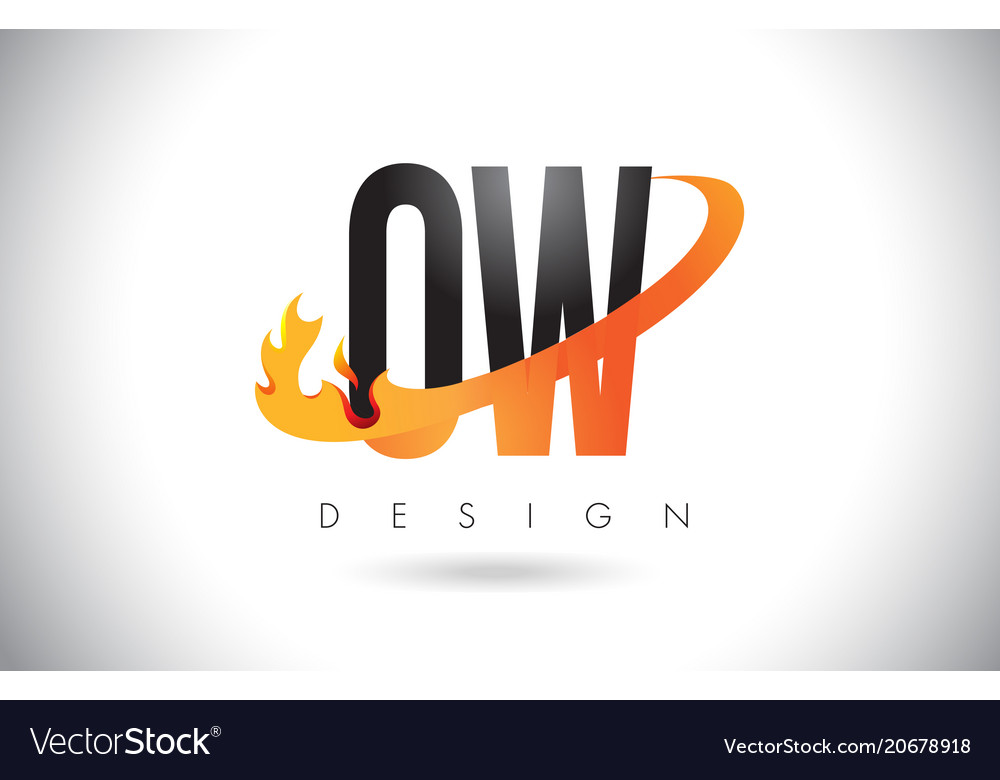 Ow o w letter logo with fire flames design and.