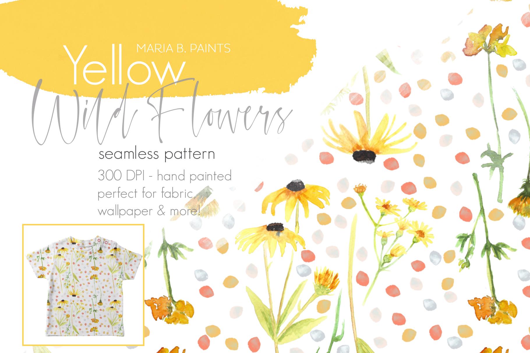 Pretty Yellow Wildflower Floral Seamless Pattern Design.