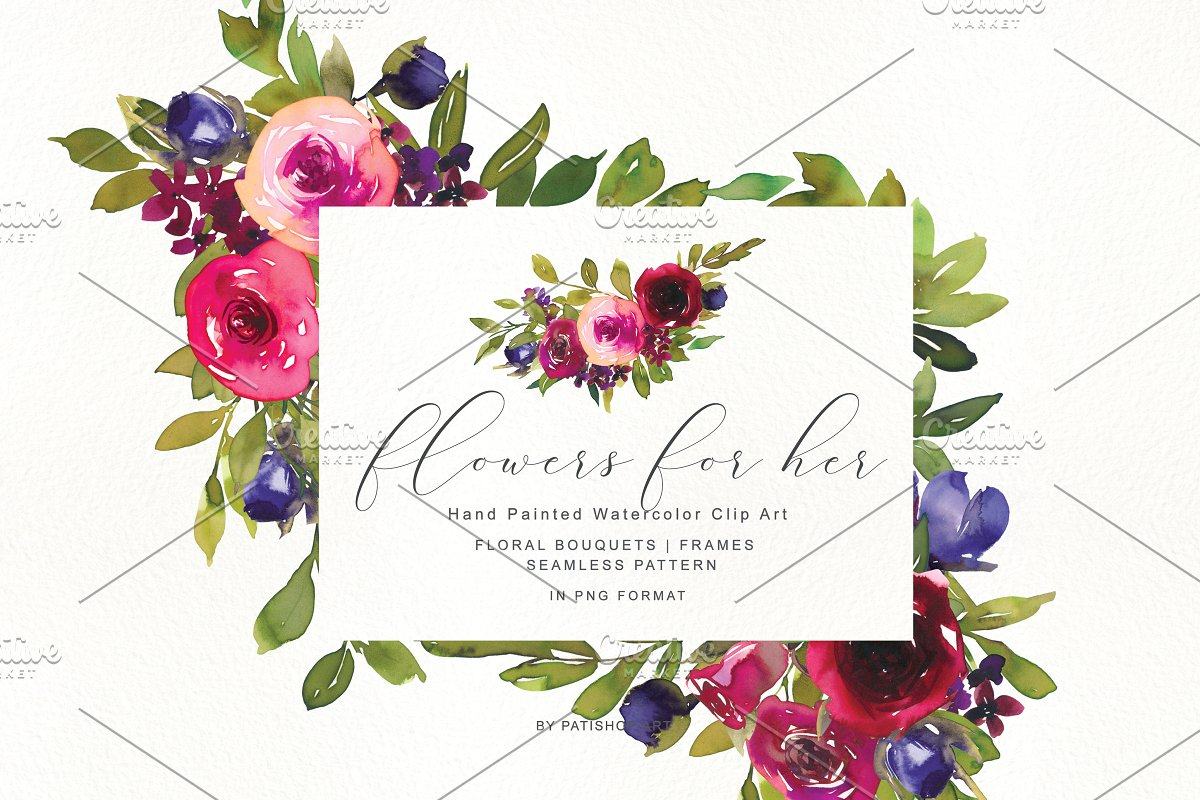 Watercolor Rose Clipart Collection ~ Illustrations.