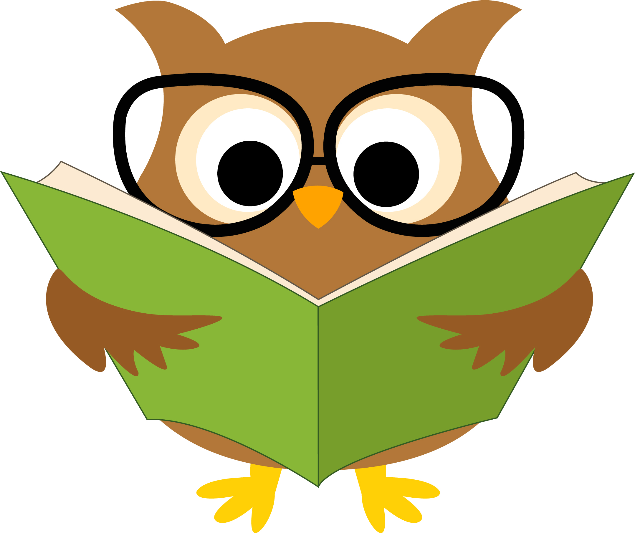 Owl Reading A Book Clipart.