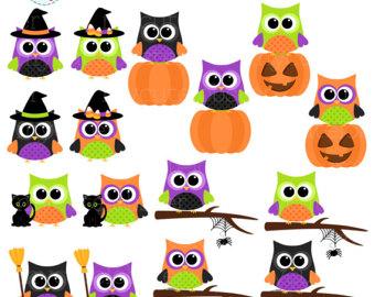 School Owls Clipart Set.