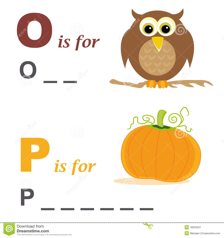 Alphabet Word Game: Owl And Pumpkin Stock Image.