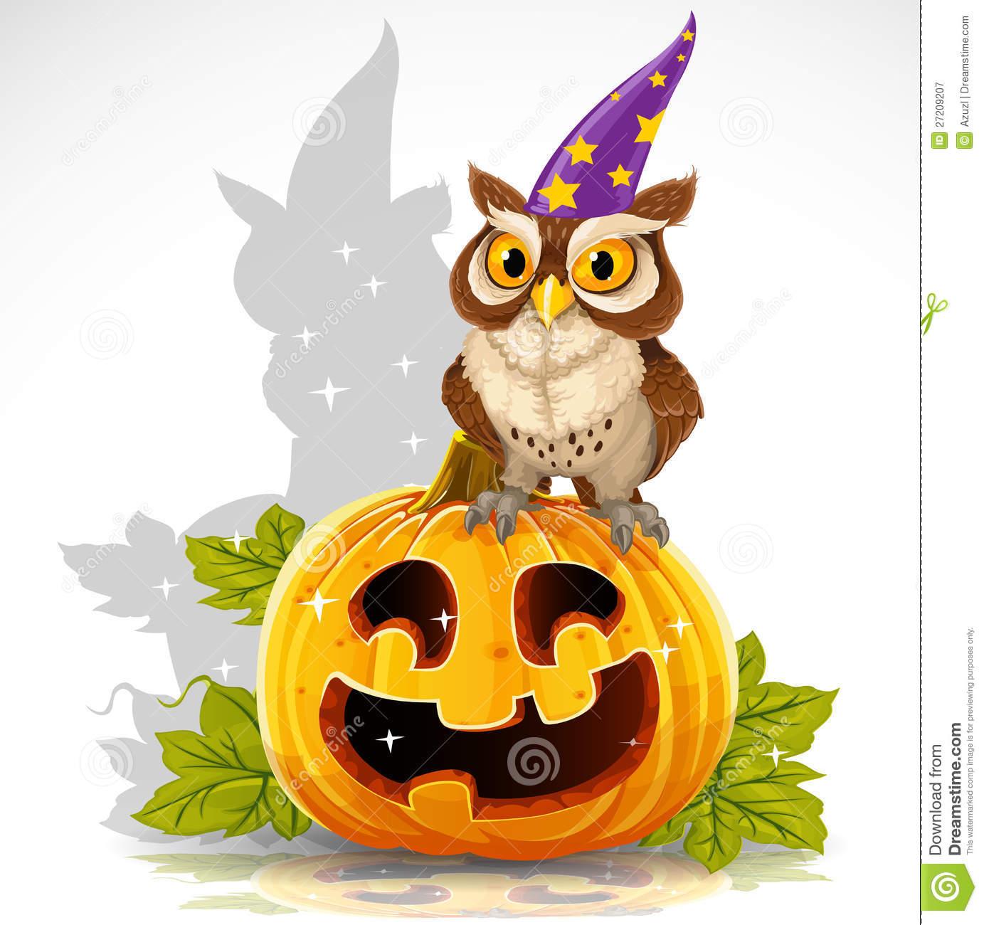 Wise Owl Sit On A Pumpkin.