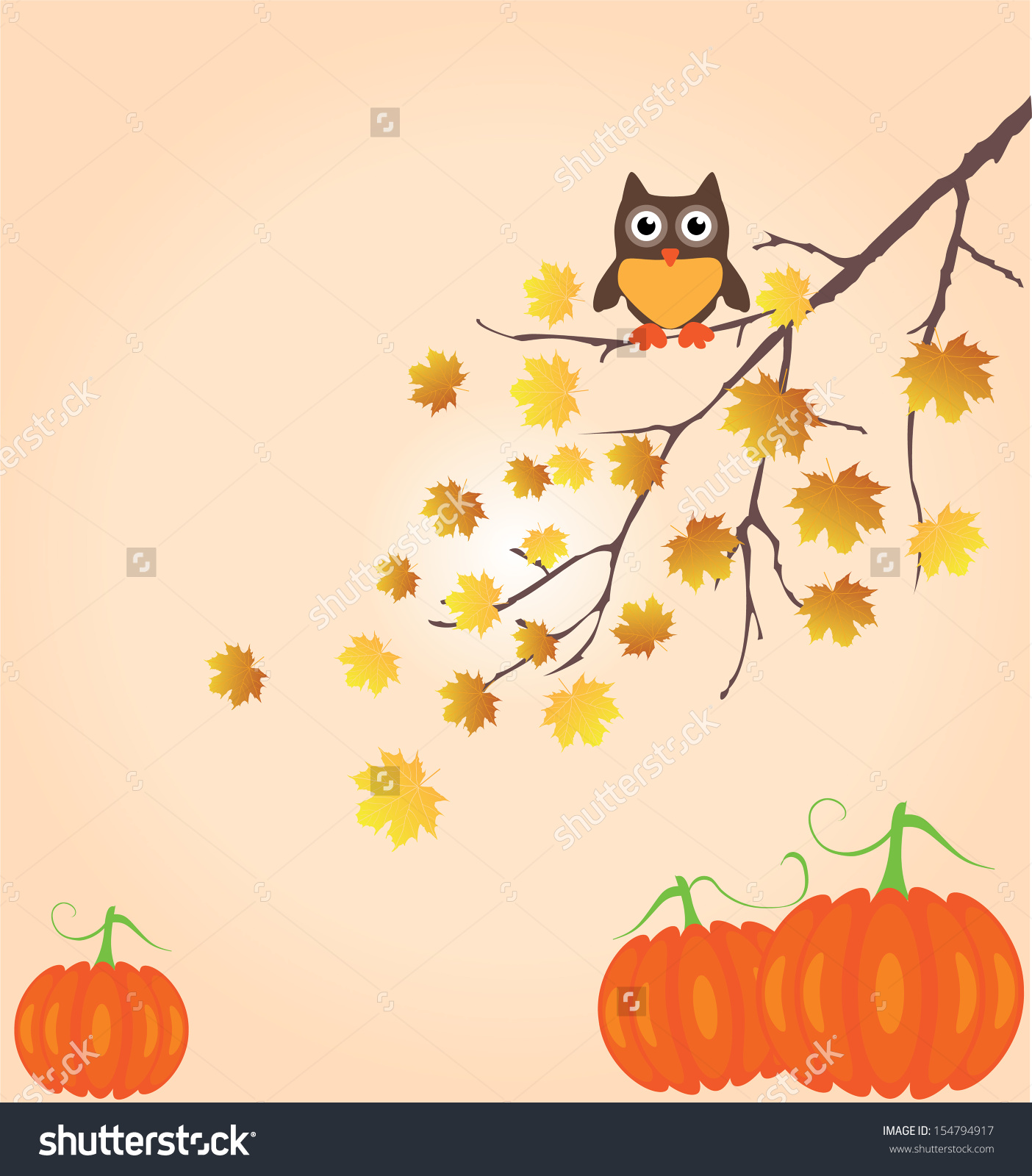 Vector Tree Branch In Fall With Owl And Pumpkins.