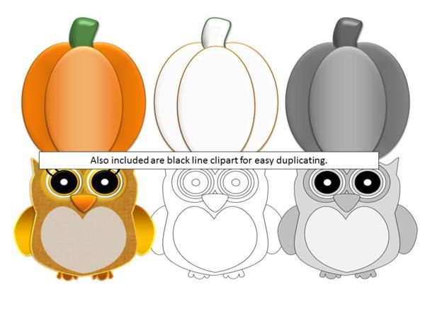 Fall Clip Art Bundle Owl Ghost Candy Corn Pumpkin.