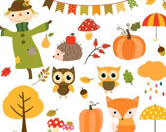 Fall owls clipart.