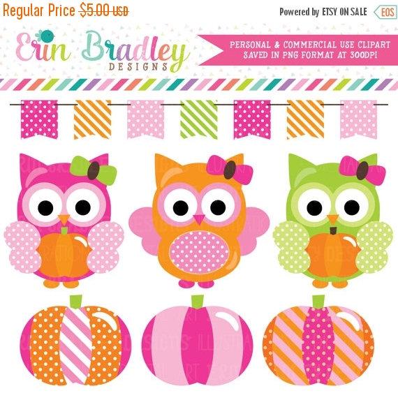 70% OFF SALE Pumpkin Owls Clipart for Girls Halloween Autumn.