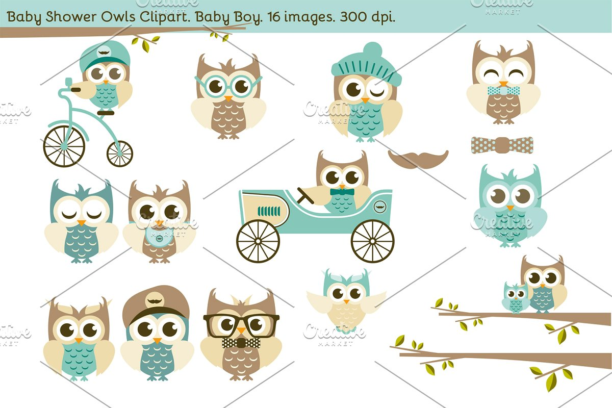 Baby Shower Owls. Baby Boy..