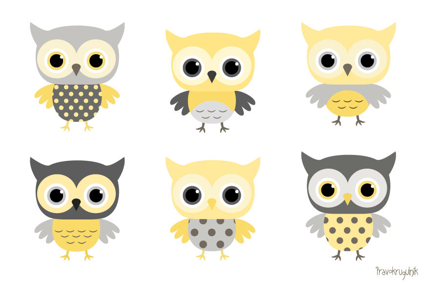 Baby boy owls clipart, Yellow and grey owl clip art set.